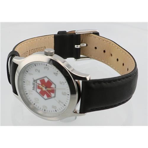 Black Leather Watch WW00618N